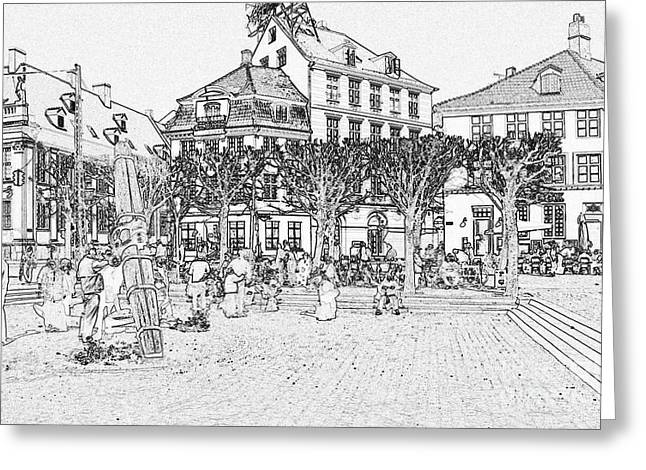 Square In Copenhagen At Nyhavn Greeting Card
