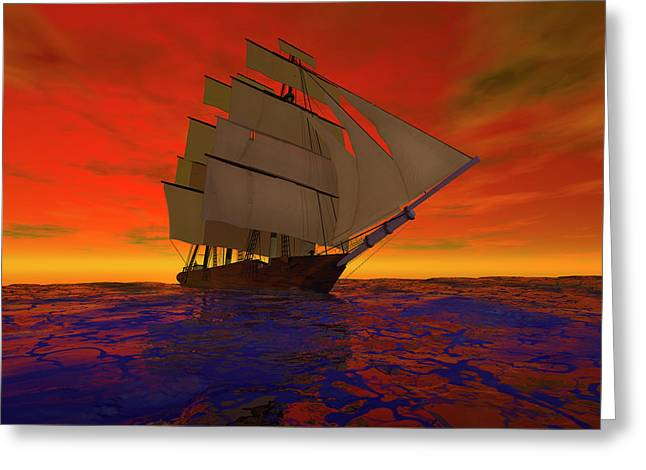 Square-rigged Ship At Sunset Greeting Card by Carol and Mike Werner