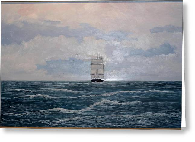 Greeting Card featuring the painting Square Rigger by Ken Ahlering