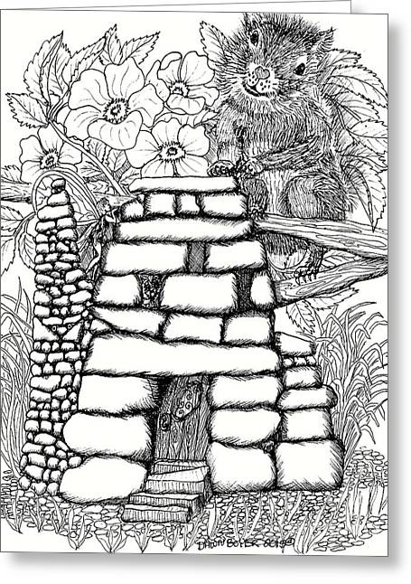 Square Rock Fairy House And Squirrel Greeting Card by Dawn Boyer