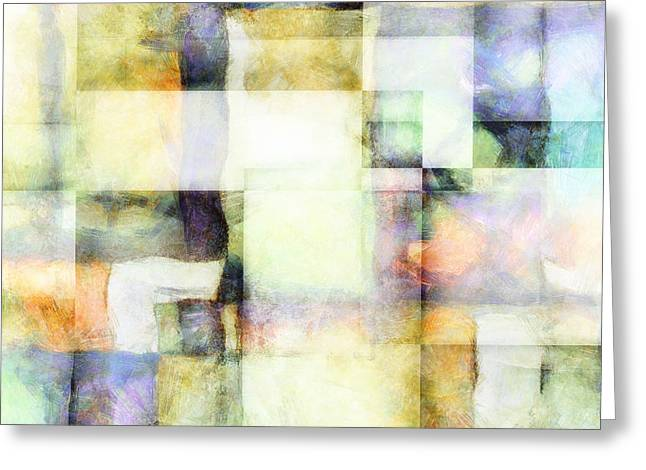 Squares And Rectangles - Abstract Art Greeting Card by Ann Powell