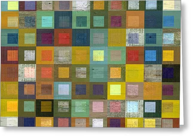 Squares In Squares Five Greeting Card by Michelle Calkins
