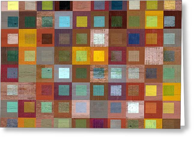 Squares In Squares Four Greeting Card by Michelle Calkins