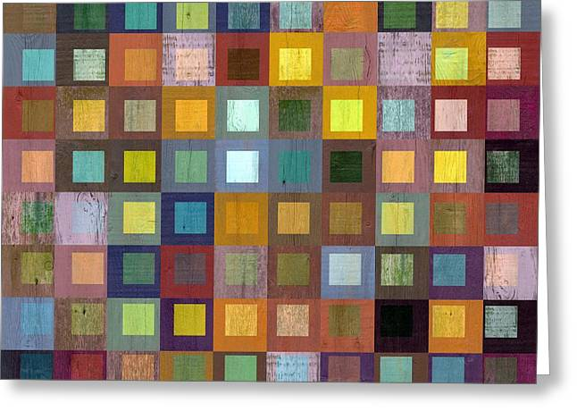 Greeting Card featuring the digital art Squares In Squares One by Michelle Calkins