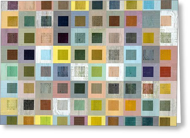 Squares In Squares Three Greeting Card by Michelle Calkins