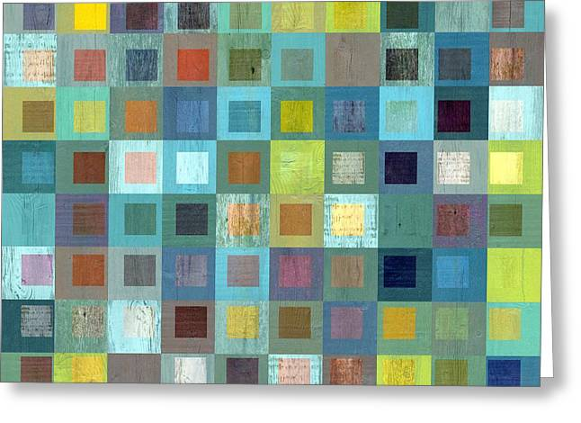 Squares In Squares Two Greeting Card by Michelle Calkins