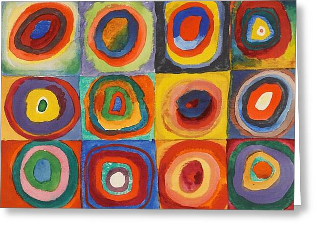 Squares With Concentric Circles Greeting Card by Wassily Kandinsky