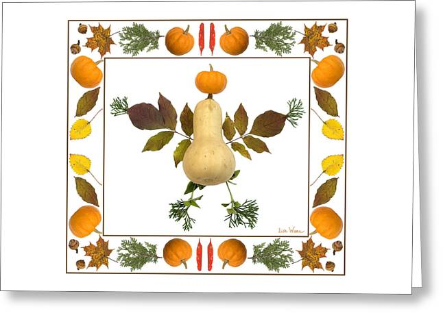 Squash With Pumpkin Head Greeting Card by Lise Winne