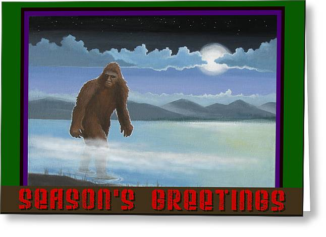 Squatch Season's Greetings Greeting Card by Stuart Swartz