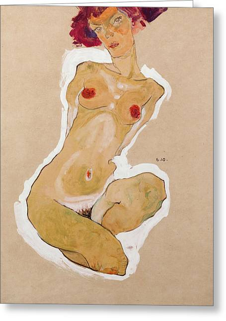Squatting Female Nude Greeting Card by Egon Schiele