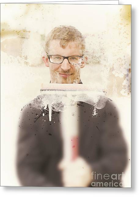 Squeaky Clean Window Washer Greeting Card by Jorgo Photography - Wall Art Gallery
