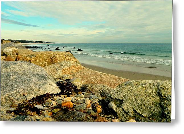 Squibby Cliffs And Mackerel Sky Greeting Card