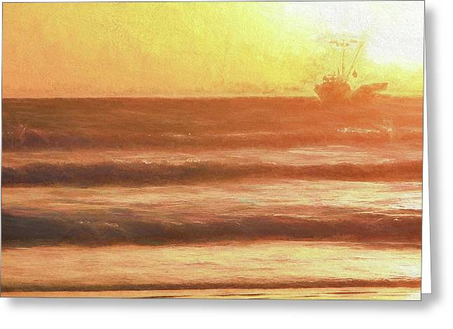 Squid Boat Sunset Greeting Card