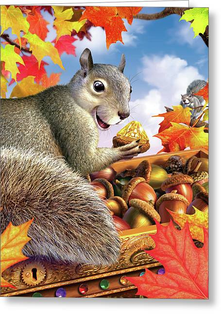Squirrel Treasure Greeting Card by Jerry LoFaro
