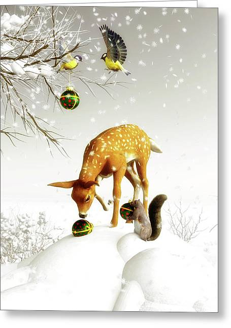 Greeting Card featuring the painting Squirrels And Deer Christmas Time by Jan Keteleer