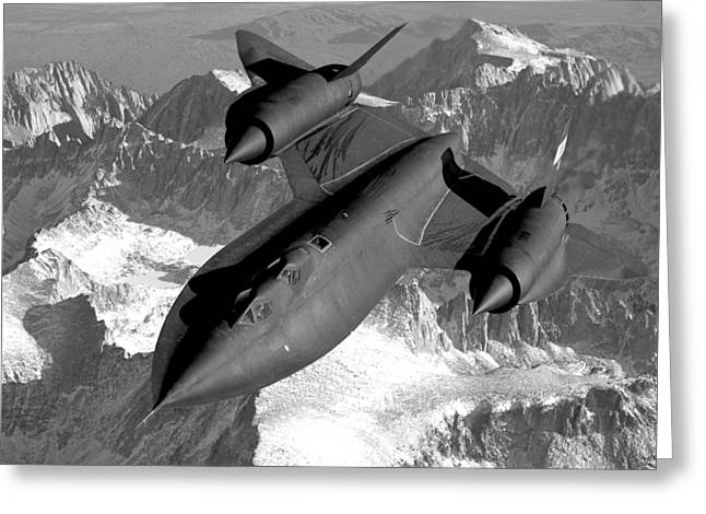 Sr-71 Blackbird Flying Greeting Card
