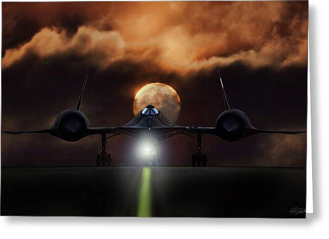 Greeting Card featuring the digital art Sr-71 Supermoon by Peter Chilelli