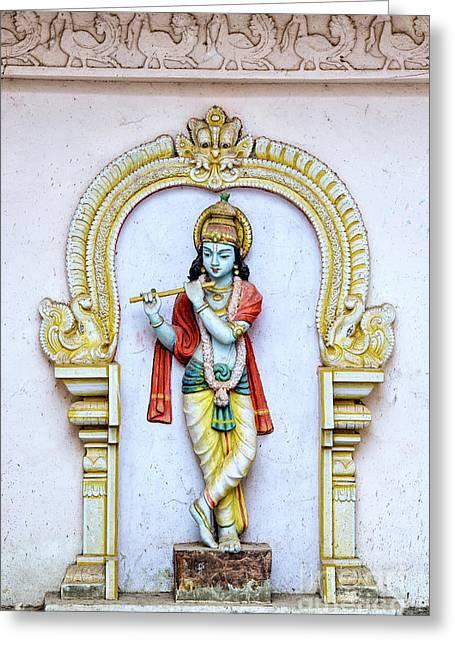 Sri Krishna Temple Statue Greeting Card