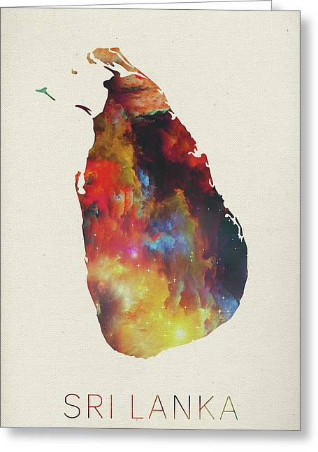 Sri lanka greeting cards fine art america sri lanka watercolor map greeting card m4hsunfo