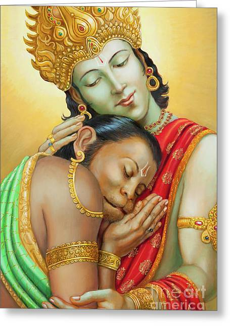 Sri Ram Embracing Hanuman Greeting Card