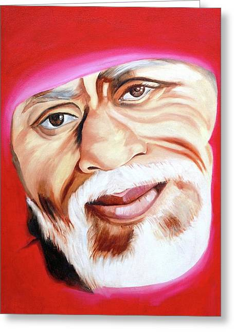 Sri Shirdi Sai Baba  Greeting Card by Kalpana Gandhi