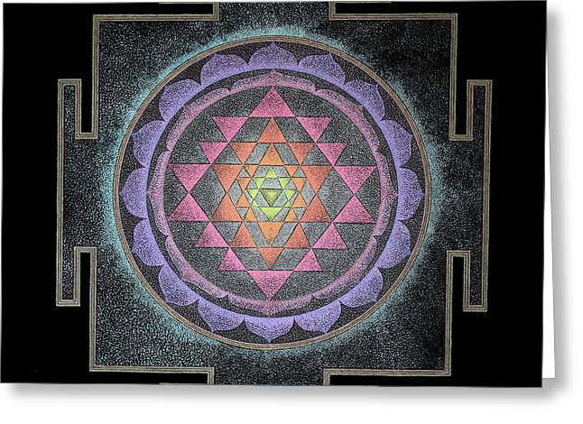 Greeting Card featuring the painting Sri Yantra by Keiko Katsuta