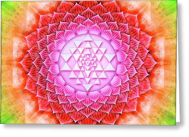 Sri Yantra - Lotus II Greeting Card