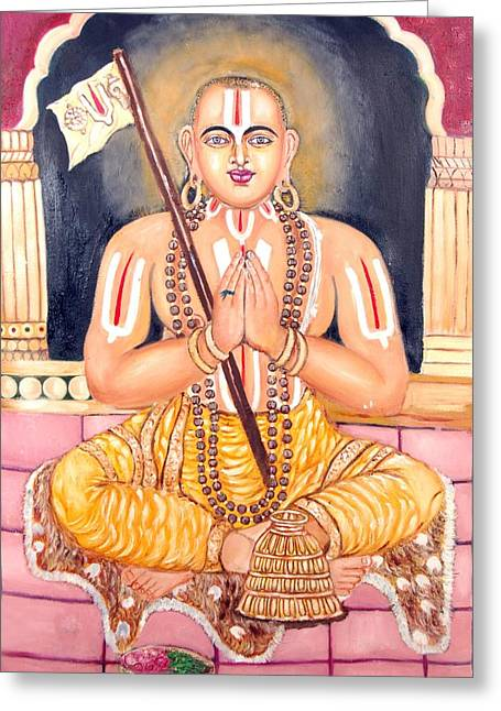 Srimadh Ramanujar Greeting Card by Sankaranarayanan