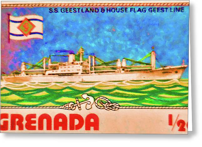 S.s Geestland And House Flag Geest Line Greeting Card