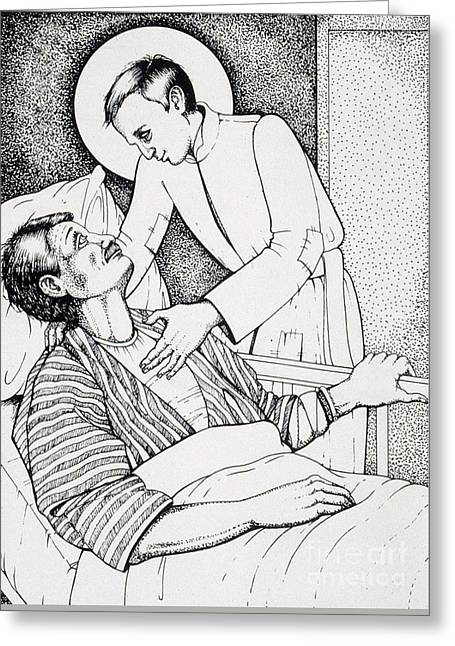 Greeting Card featuring the drawing St Aloysius Gonzaga- Patron Of People With Hiv-aids And Caregivers 1987 by William Hart McNichols