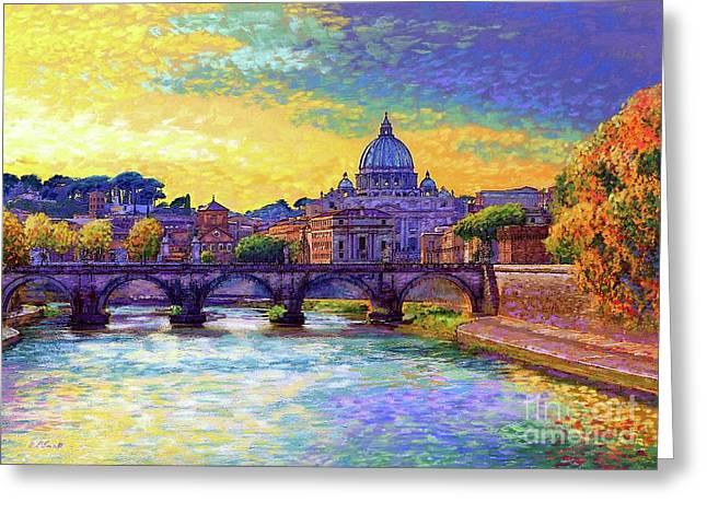 St Angelo Bridge Ponte St Angelo Rome Greeting Card