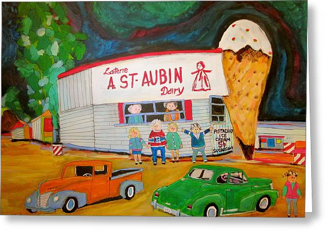 St. Aubin Ice Cream Plage Laval Greeting Card by Michael Litvack