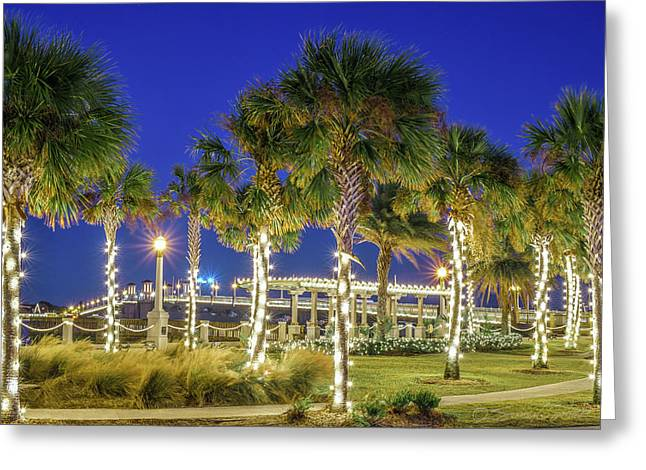 St. Augustine Bayfront Park During Nights Of Lights Greeting Card