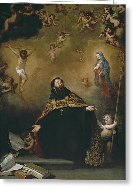 St. Augustine Between Christ And The Virgin Greeting Card by Bartolome Esteban Murillo