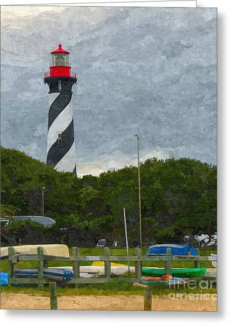 St. Augustine Lighthouse Boat Ramp Greeting Card by Jennifer Capo
