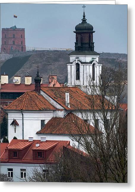 St Bartholomew And Vilnius Castle Greeting Card