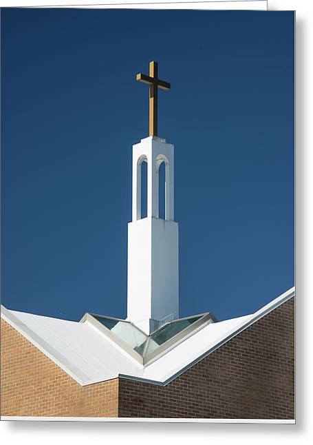 Greeting Card featuring the photograph St Benedicts Church Rooftop by Gary Slawsky