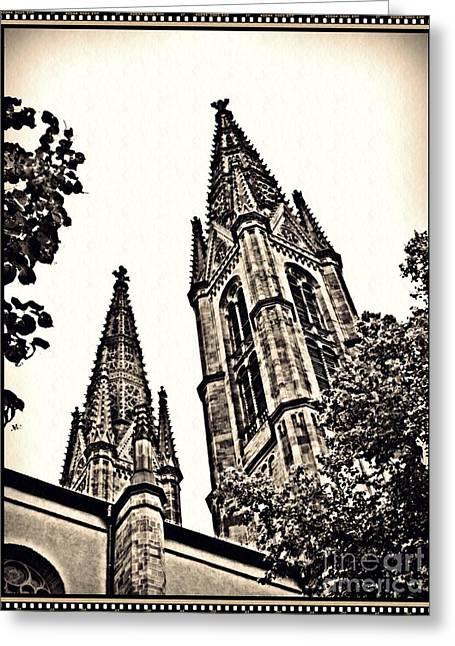 St Boniface Church Towers Sepia Greeting Card by Sarah Loft