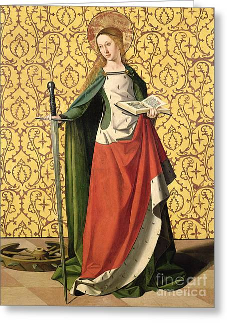 Catherine Wheel Greeting Cards - St. Catherine of Alexandria Greeting Card by Josse Lieferinxe