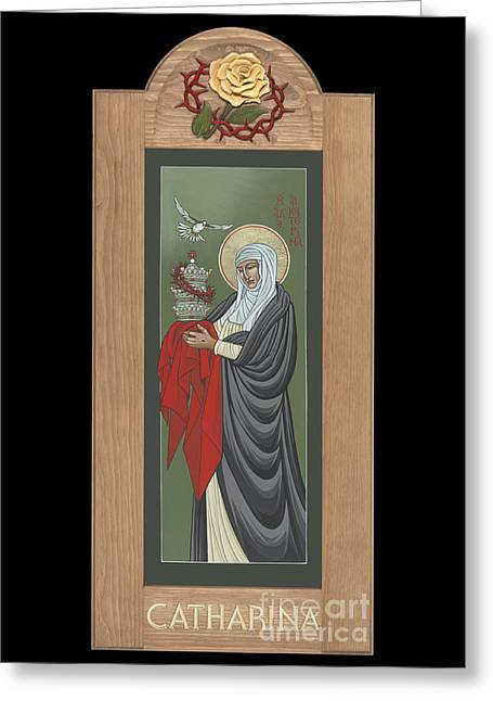 Greeting Card featuring the painting St Catherine Of Siena With Frame by William Hart McNichols