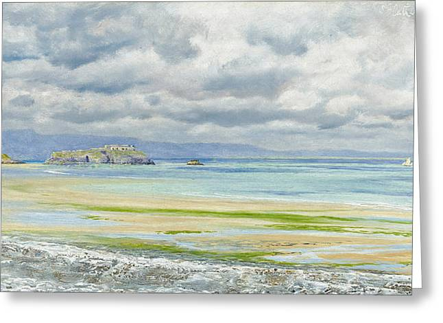 Deep Blue Sea Greeting Cards - St. Catherines Isle Greeting Card by John Brett