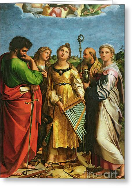 St Cecilia Surrounded By St Paul, St John The Evangelist, St Augustine And Mary Magdalene Greeting Card by Raphael