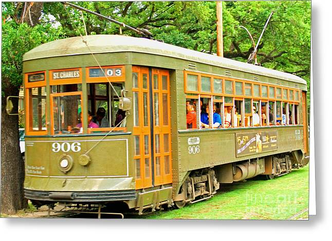 St. Charles Ave. Trolley Greeting Card by Jim Sweida