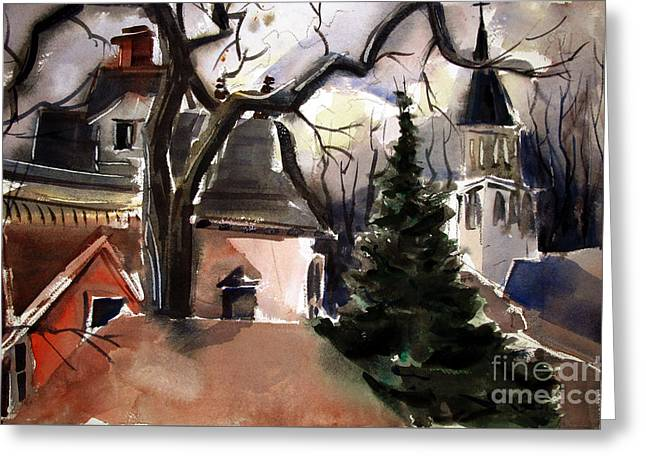 St. Charles Borromeo Church From Hill's Alley Greeting Card by Charlie Spear