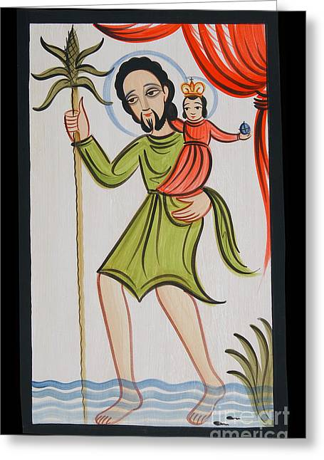 St. Christopher - Aochr Greeting Card by Br Arturo Olivas OFS