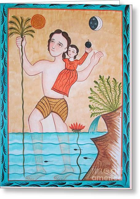St. Christopher - Aochs Greeting Card by Br Arturo Olivas OFS