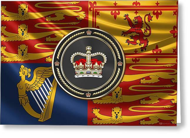 St Edward's Crown - British Royal Crown Over Royal Standard  Greeting Card