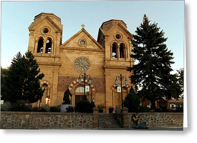 St Frances Basilica Santa Fe New Mexico With A Lone Singer  Greeting Card