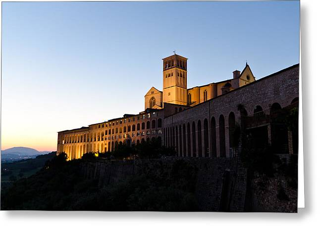San Francesco Greeting Cards - St Francis Assisi at Sundown Greeting Card by Jon Berghoff
