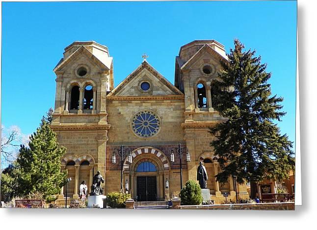 St. Francis Cathedral Santa Fe Nm Greeting Card by Joseph Frank Baraba